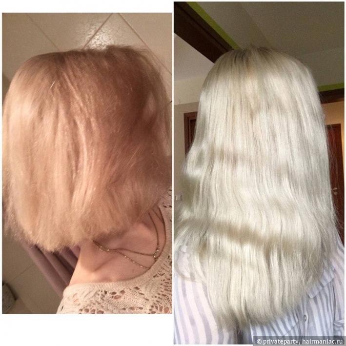 слева- волосы после полугода в блонде, справа- прошел еще год, пересмотрела уход